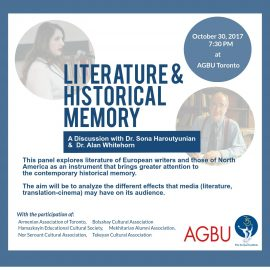 Literature & Historical Memory: A Panel Discussion with Dr. Sona Haroutyunian and Dr. Alan Whitehorn