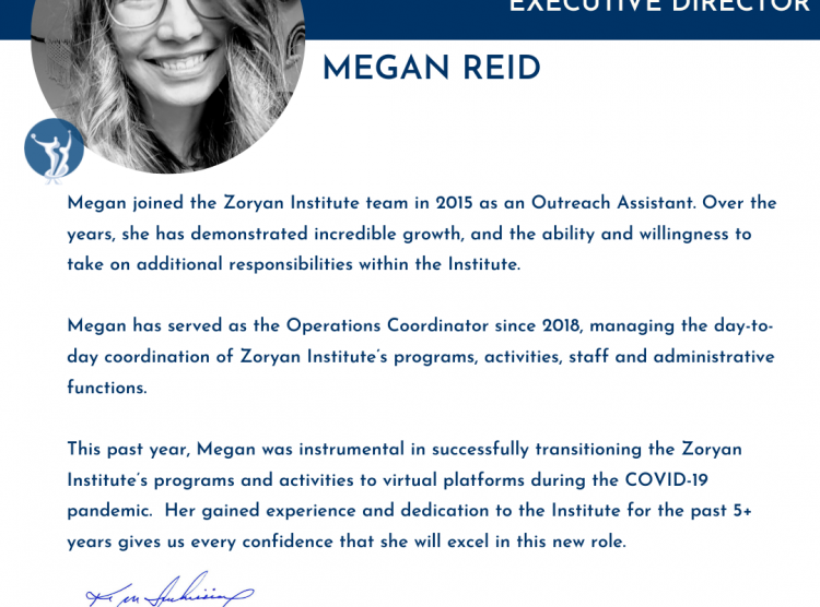 Announcing The Zoryan Institute's New Deputy Executive Director, Megan Reid